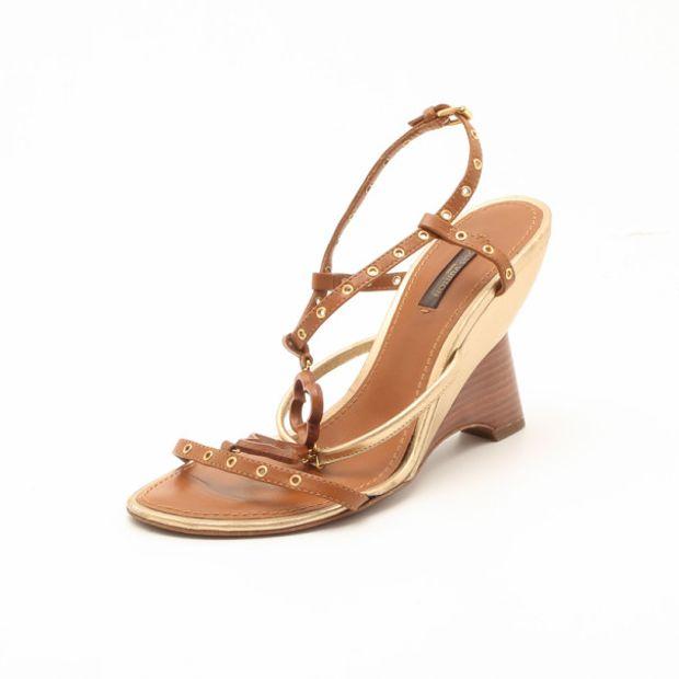 888ef42eb6e7 LOUIS VUITTON Louis Vuitton Brown Andalucia Wedge Sandals Size 38 1  thumbnail