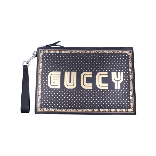 1d4002a4c6e Guccy Printed Leather Pouch by GUCCI