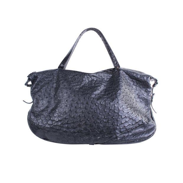 655e11368c72 Ostrich Shoulder Bag in Black by BOTTEGA VENETA | StyleTribute.com