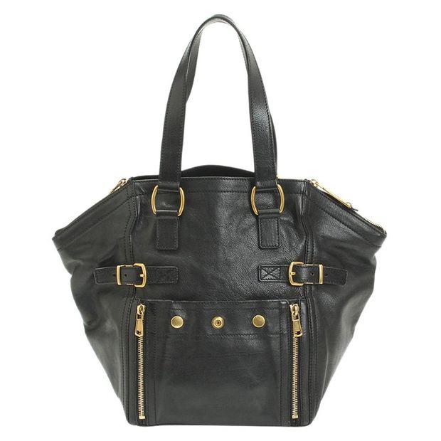 69a89cd6c071 SAINT LAURENT Saint Laurent Paris Black Leather Small Downtown Tote ...