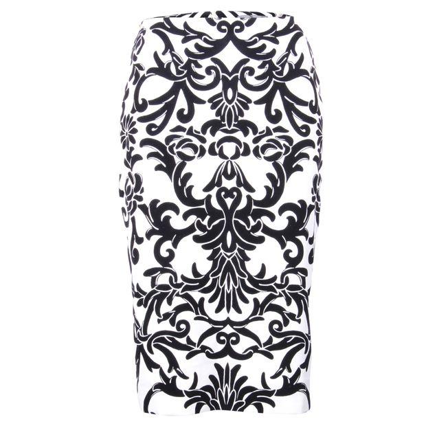 ccc832f12 ALEXANDER MCQUEEN High Waist Black and White Pencil Skirt 0 thumbnail