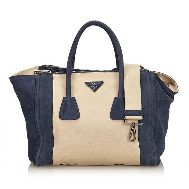 3e25791977b9 Canvas Suede Shopping Bag by PRADA | StyleTribute.com