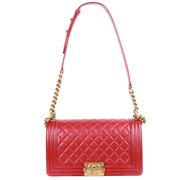 cdaffcbc361d Boy Bag In Red Calfskin Leather by CHANEL | StyleTribute.com