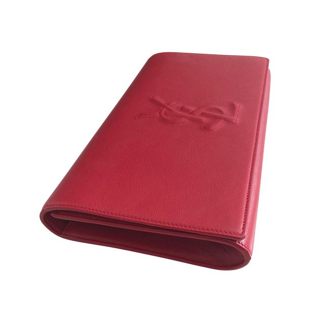 a78dff90457 Red Classic Clutch by YVES SAINT LAURENT | StyleTribute.com