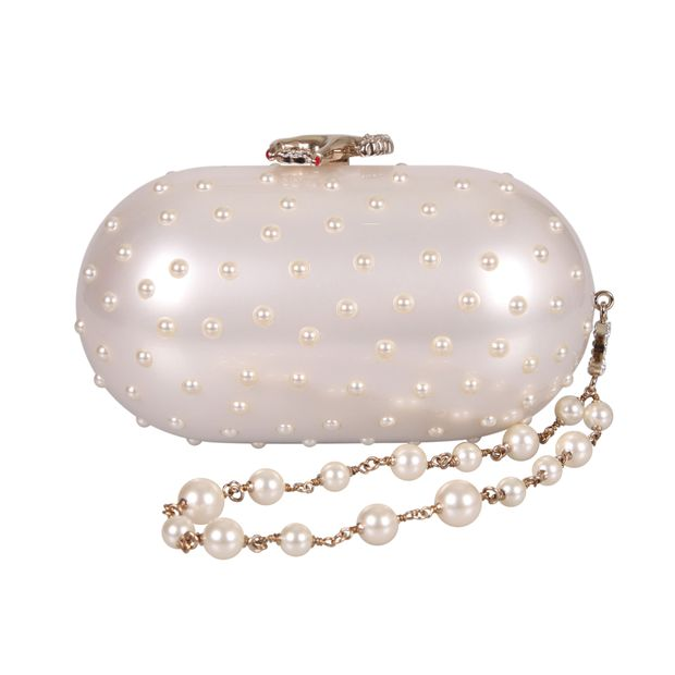 1c24cdc83a8dac Pearl Capsule-Shaped Box Clutch by CHANEL | StyleTribute.com