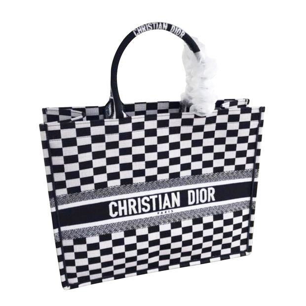 f748109c8ce94 DIOR Book Tote Bag In Black And White Embroidered Canvas. 0 thumbnail