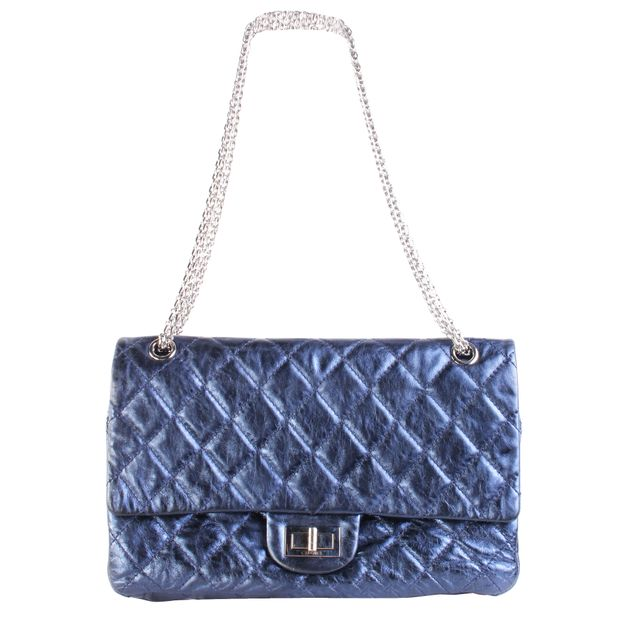 adbba9af3b92d5 2.55 Flap Bag In Metallic Navy by CHANEL | StyleTribute.com