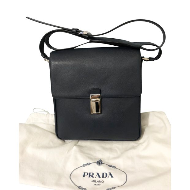 d5fe279cd07 Black Saffiano Travel Sling Bag by PRADA