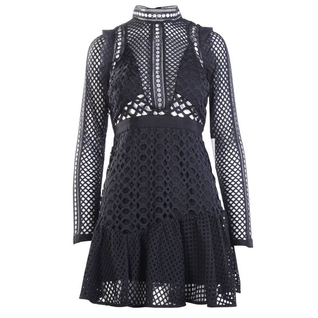 180b8d2dbc9 SELF-PORTRAIT Black Hall Mini Lace Dress 0 thumbnail
