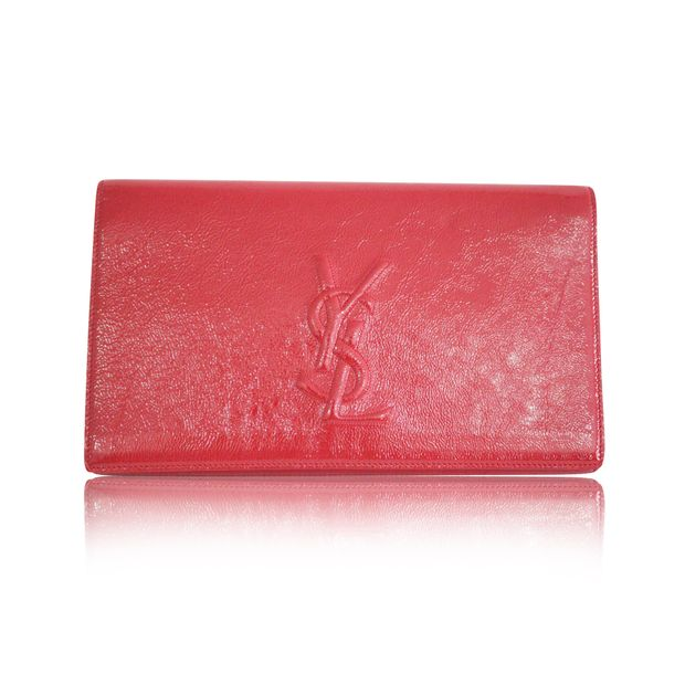 c8bb355469f Red Patent Clutch by YVES SAINT LAURENT | StyleTribute.com
