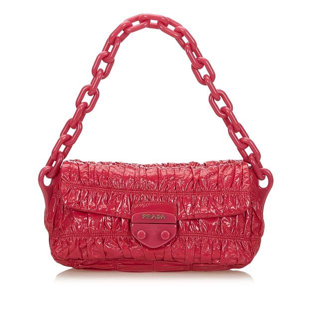 f14c8797d sold. PRADA Patent Leather Vernice Gaufre Chain Shoulder Bag ...