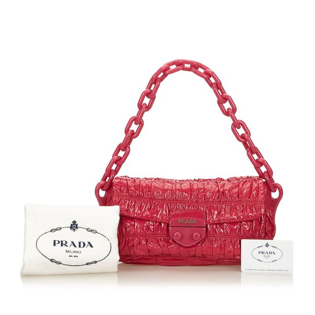 818ae09fda5d19 Patent Leather Vernice Gaufre Chain Shoulder Bag by PRADA ...