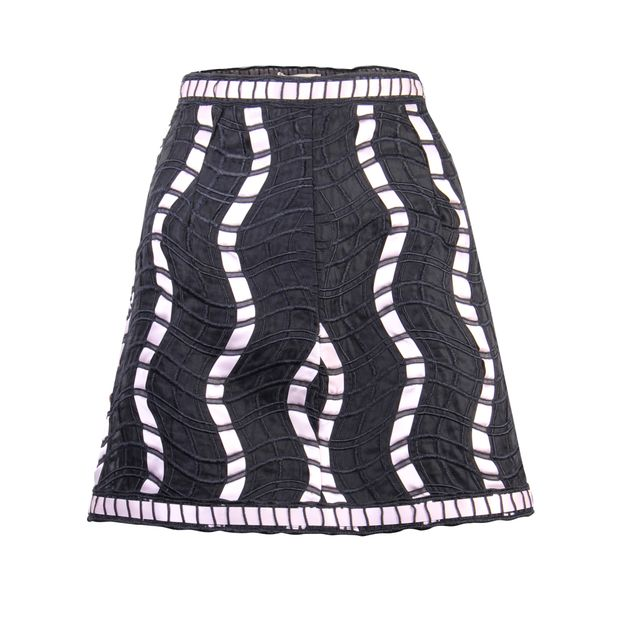 a7305d7418 Embroidered Black Mini Skirt by CHRISTOPHER KANE | StyleTribute.com