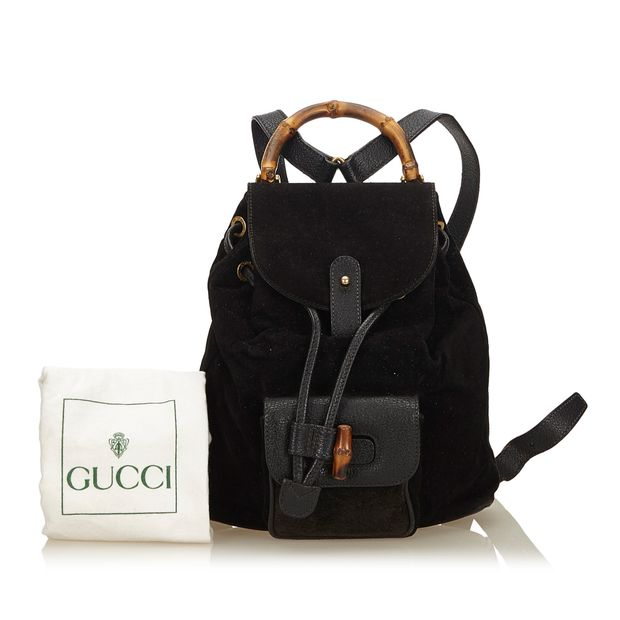 36b8bea9434 Bamboo Suede Drawstring Backpack by GUCCI