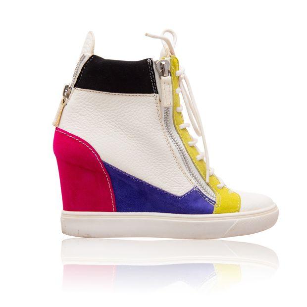 e64d3fdd86d GIUSEPPE ZANOTTI Colorblock Leather Wedge Sneakers 0 thumbnail