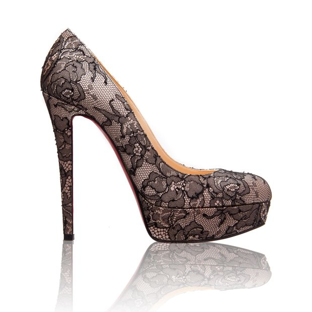 bc809aefa7 Black/Nude Lace and Satin Bianca 140 Pumps by CHRISTIAN LOUBOUTIN ...