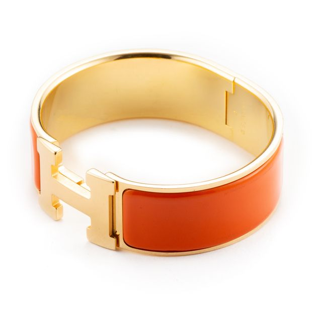 288d3b77ad9343 HERMÈS Orange Enamel Gold Plated Clic-Clac H PM Wide Bracelet 5 thumbnail