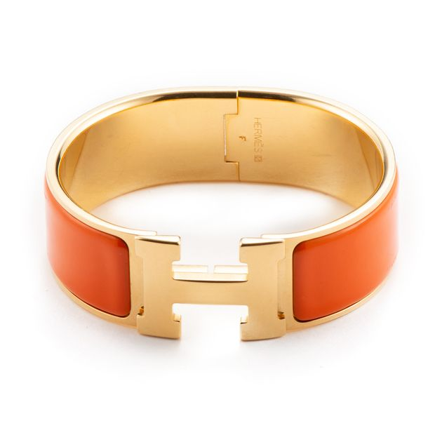43e6e747da30 Orange Enamel Gold Plated Clic-Clac H PM Wide Bracelet by HERMÈS ...