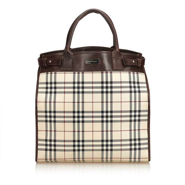 989594c5ac5b Plaid Coated Canvas Tote Bag by BURBERRY