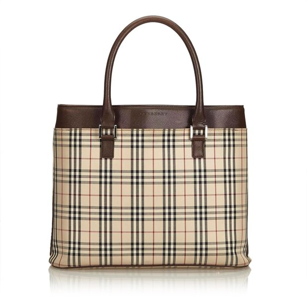 6751f83b019 Plaid Coated Canvas Tote Bag by BURBERRY | StyleTribute.com