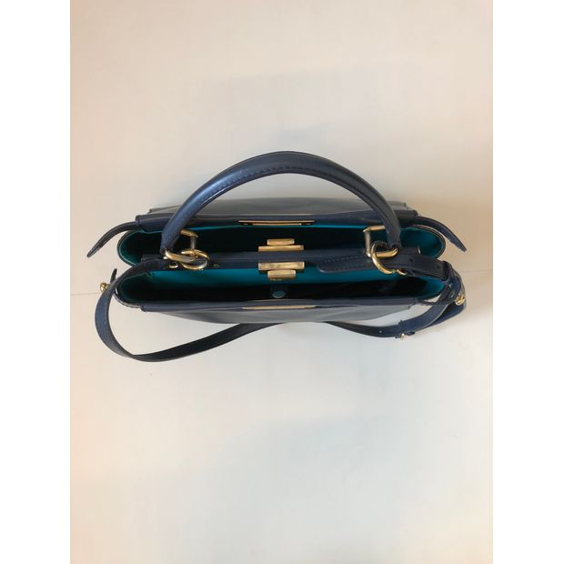 d97d37cb702e FENDI Peekaboo In Navy Blue With Turquoise Lining And Gold Hardware 3  thumbnail