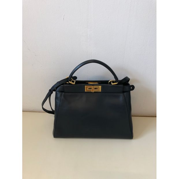 9bb10d042e10 FENDI Peekaboo In Navy Blue With Turquoise Lining And Gold Hardware ...