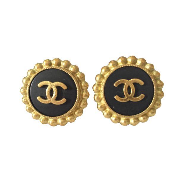ea6376eb Chanel Classic Black & Gold Clip Earrings