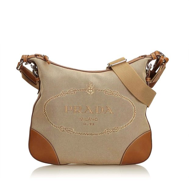 186042d404e0 Embroided Logo Jacquard Crossbody Bag by PRADA | StyleTribute.com
