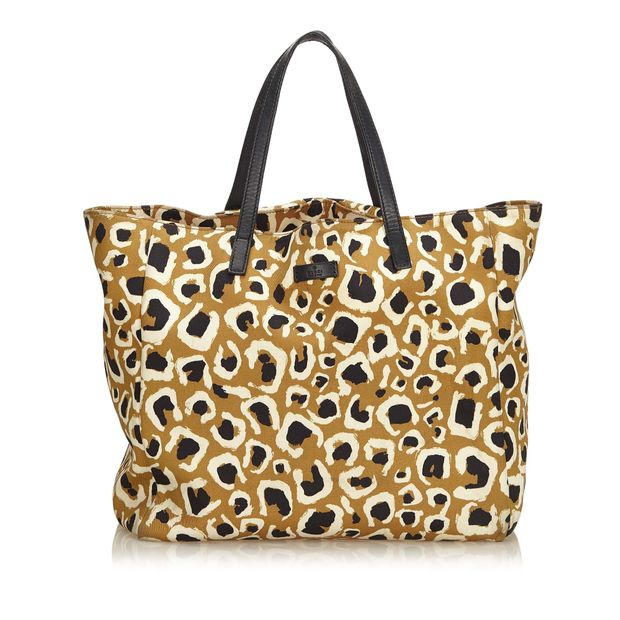 07bc07ddb98 Leopard Printed Nylon Tote Bag by GUCCI