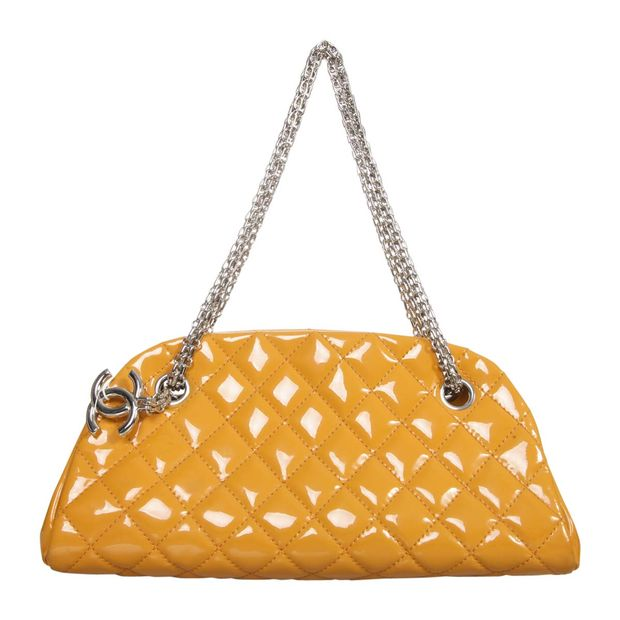 ae61366034ad Patent Just Mademoiselle Bowling Bag by CHANEL   StyleTribute.com