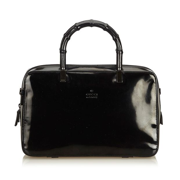 7c094069bc1 Patent Leather Bamboo Boston Bag by GUCCI