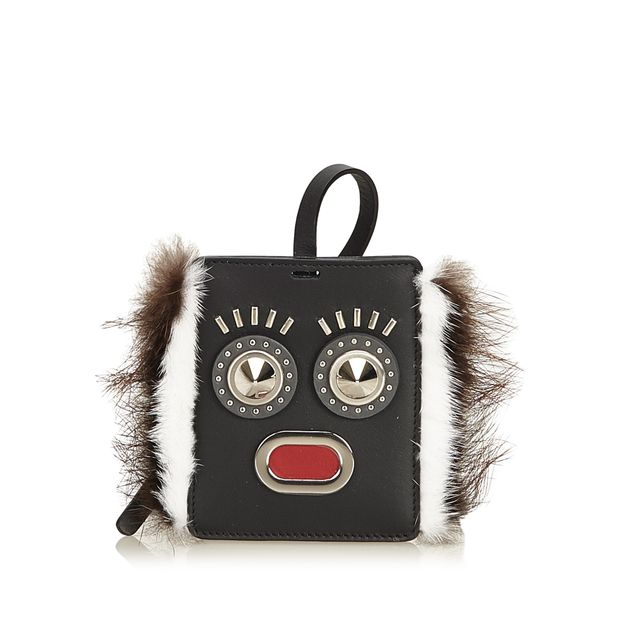 b404eb0502f Fur-Trimmed Monster Face Bag Tag by FENDI