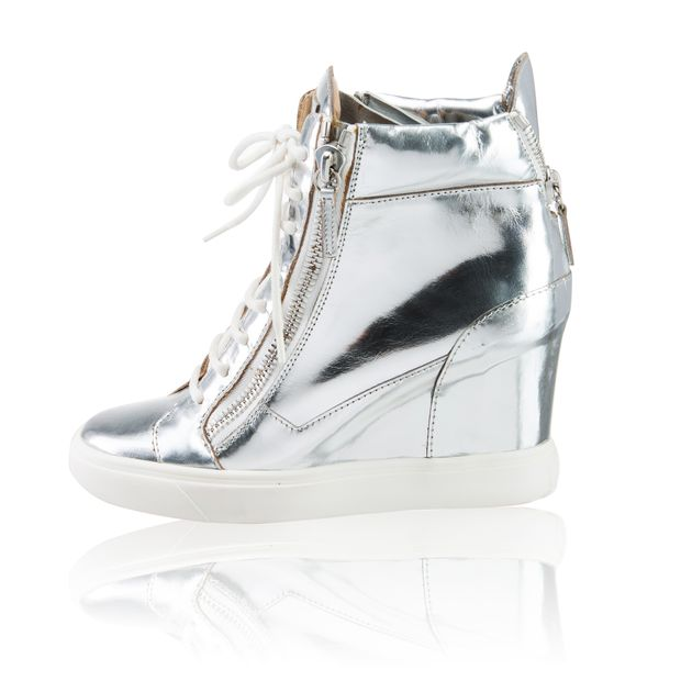 Metallic Silver Wedge Sneakers
