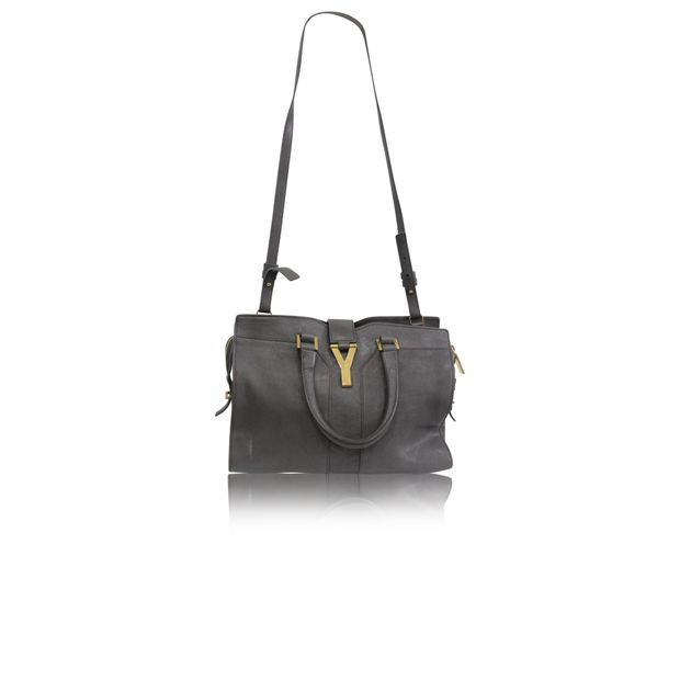 02e0fbabfae Mini Grey Leather Cabas by YVES SAINT LAURENT | StyleTribute.com