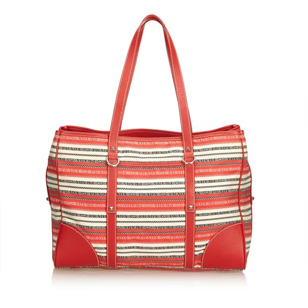 4b69648b9371 Striped Jacquard Tote Bag by PRADA | StyleTribute.com