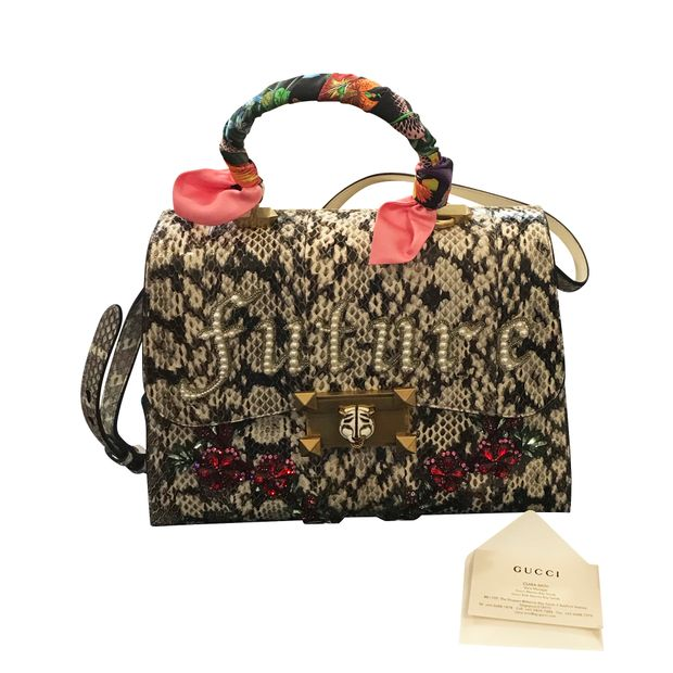 9c7a0b8817 Osiride Future Snakeskin Top Handle Bag by GUCCI | StyleTribute.com