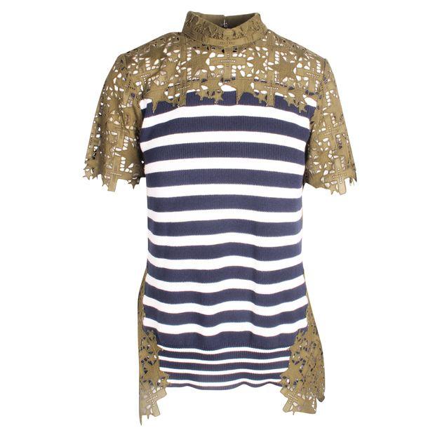 48f04bdf37528 SACAI Blue Stripes and Lace Khaki Top 0 thumbnail
