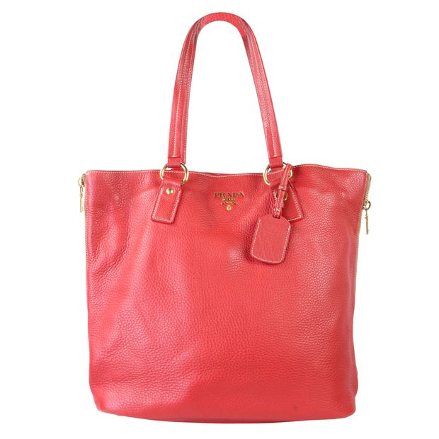 65ef30bf5d2273 Vitello Daino Side Zip Shopping Tote by PRADA | StyleTribute.com