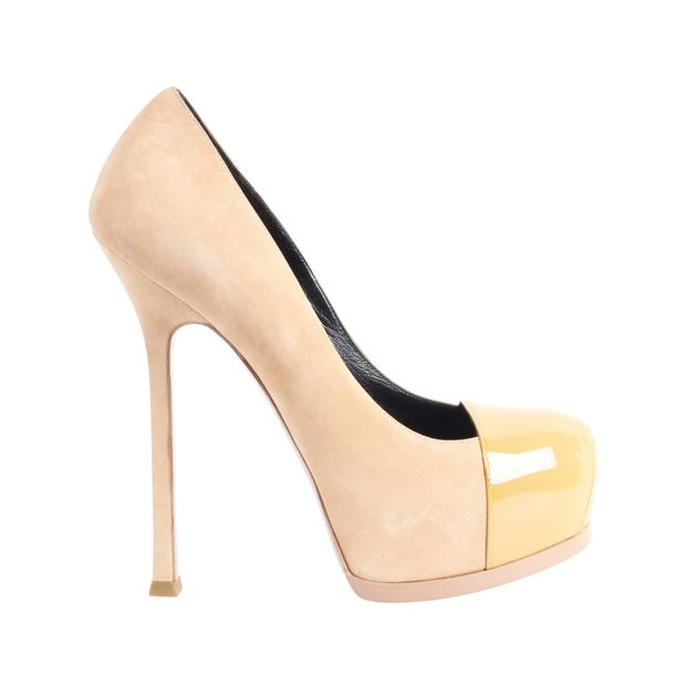 21b52688844 Nude Suede and Patent Leather Tribute Pumps by YVES SAINT LAURENT ...