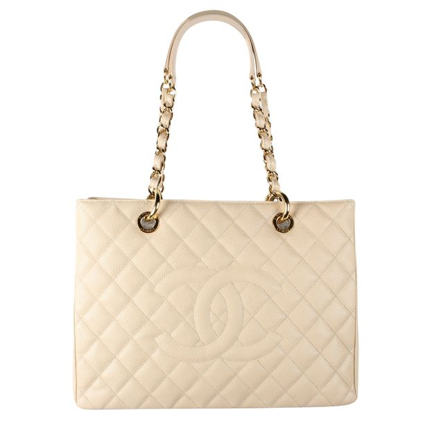 1a5cc01216d5ab CHANEL Beige Quilted Caviar Leather Grand Shopping Tote 0 thumbnail