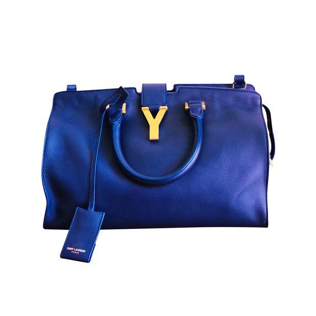 334829b653f Blue YSL Classic Y Cabas Bag (small) by YVES SAINT LAURENT ...