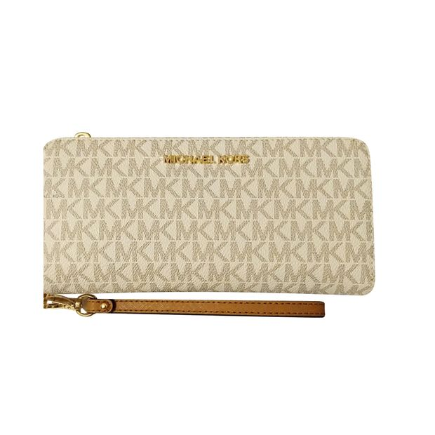 a21d1c9e065b9c MICHAEL KORS Michael Kors Jet Set Travel CONTINENTAL Long Wristlet Vanilla  Signature MK (Available now ...