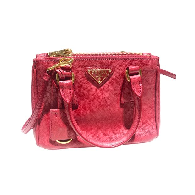 9490100f792068 Prada Saffian Micro Tote Bag with Shoulder Strap, Fuoco by PRADA ...