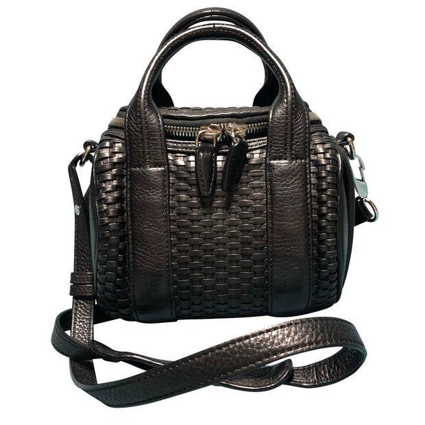 a379e92b3c13 ALEXANDER WANG Alexander Wang Mini Rickie Black Woven Leather Satchel ...