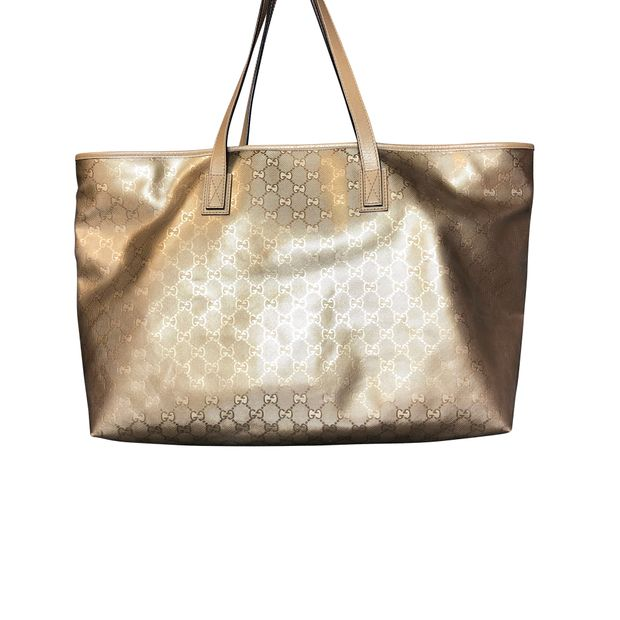 0aac2b5bfb1b12 Gucci Gold Signature GG Imprime Tote Bag by GUCCI   StyleTribute.com