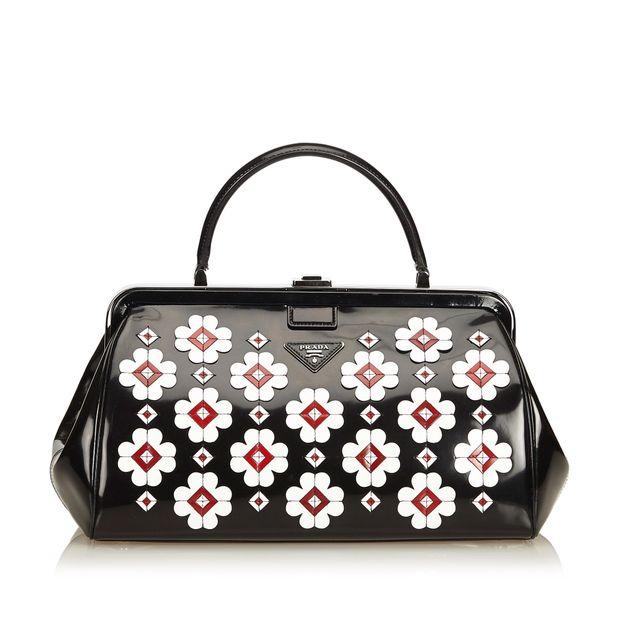 b80d0156b6ca Spazzolato Flower Applique Doctor Bag by PRADA