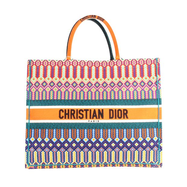 aa32919c40 DIOR Multi-Colored Logo Embroidered Canvas Book Tote 0 thumbnail