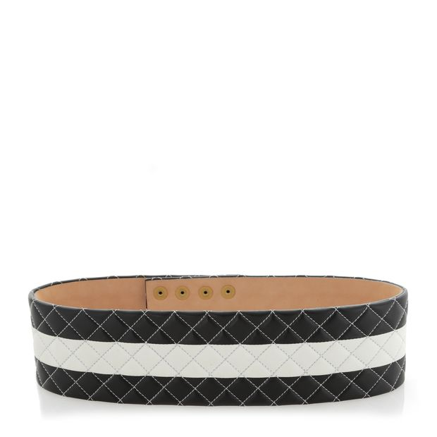 853b975c94 Quilted Leather Wide Waist Belt by BALMAIN   StyleTribute.com
