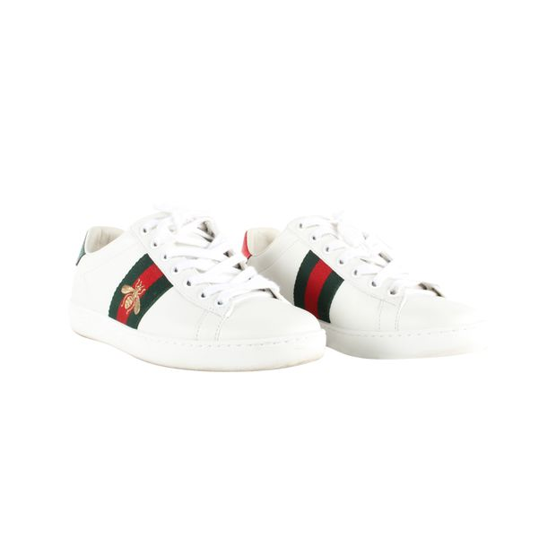 24ff99f535c GUCCI Ace Watersnake-Trimmed Embroidered Leather Sneakers 1 thumbnail