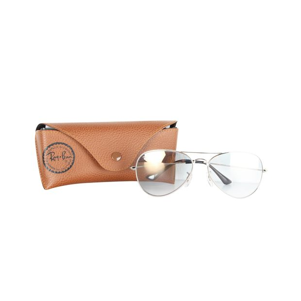 8bad09597af09 RAY-BAN Metallic SIlver Aviator Sunglasses With Gradient Light Blue Lens ...